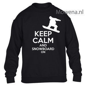 Kids sweater keep calm snowboarden vk opdruk div kleuren KHW0067