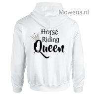 Hoodie-zilveren-kroontje-horse-riding-Queen-achterkant-div.kleuren-PH0091