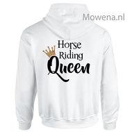 Hoodie-gouden-kroontje-horse-riding-Queen-achterkant-div.kleuren-PH0091