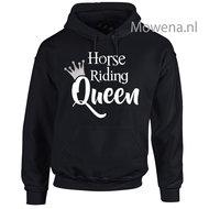 Hoodie-zilveren-kroontje-horse-riding-Queen-voorkant-div.kleuren-PH0091