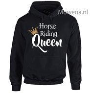 Gouden-kroontje-horse-riding-Queen-hoodie-voorkant-opdruk-div-kleuren-KH0091