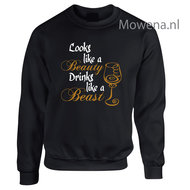 Looks-like-a-beauty-Drinks-like-a-beast--sweater-2-kleuren-opdruk-LFS013